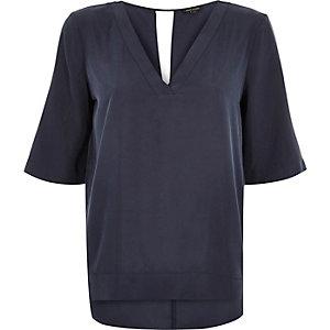 Off-navy V-neck t-shirt