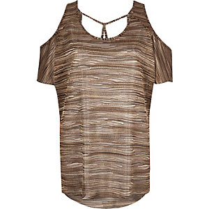 Brown stripe cold shoulder top