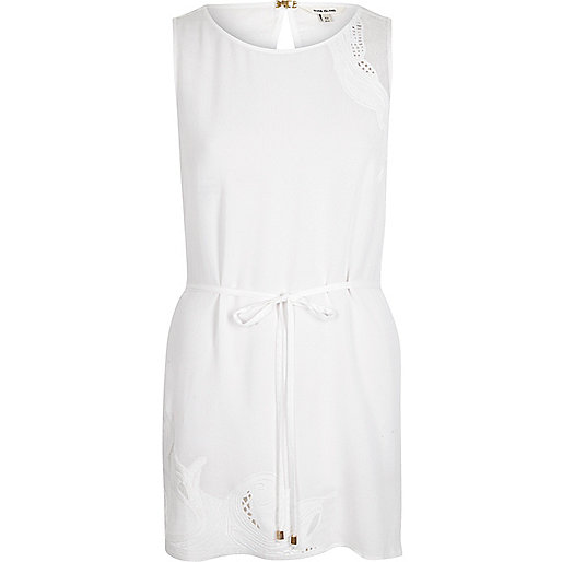 White crepe lace insert sleeveless tunic