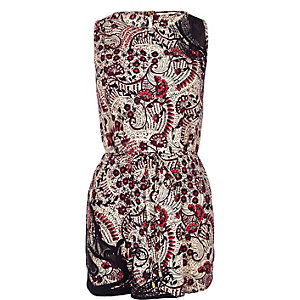 Red floral print long sleeveless top