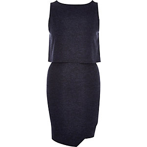 Navy layered sleeveless bodycon dress