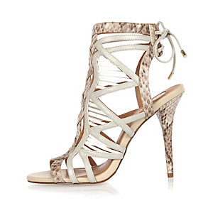 Beige snake print caged stiletto heels
