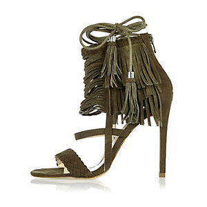 Khaki suede fringed stiletto heels