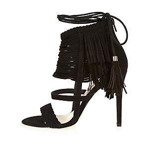 Black suede fringed stiletto heels