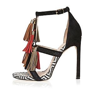 Black suede tassel strappy heels
