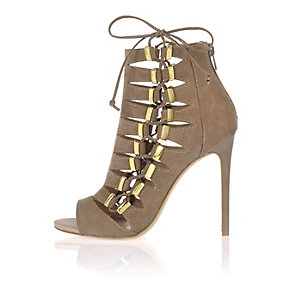 Dark beige lace up shoe boots