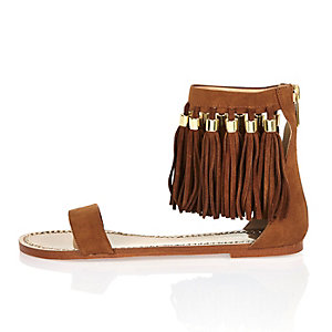 Tan brown tassel sandals