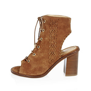 Tan suede peep toe heeled shoe boots