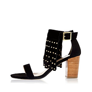 Black suede fringed studded mid heel sandals