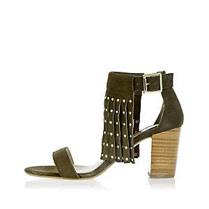 Khaki suede fringed studded mid heel sandals