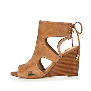 Tan suede cut-out peep toe wedges