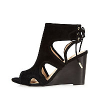 Black suede cut-out peep toe wedges