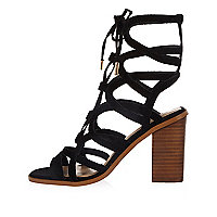 Black suede lace-up caged block heel sandals