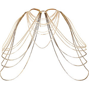 Gold tone draped shoulder harness