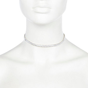 Silver tone choker necklace