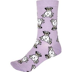 Light purple pug print ankle socks