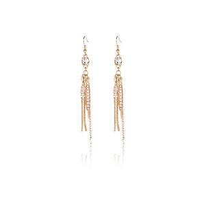 Gold tone gem dangly earrings