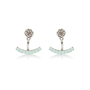 Aqua embellished front and back earrings