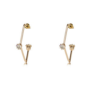 Gold tone embellished earrings