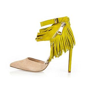 Yellow suede tassel heels