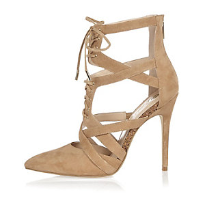 Beige suede caged court heels