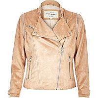 Light pink faux suede biker jacket