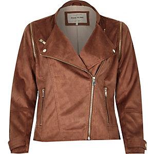 Rust brown faux suede biker jacket