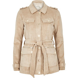 Cream faux suede belted jacket