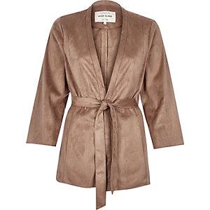 Tan faux suede kimono jacket
