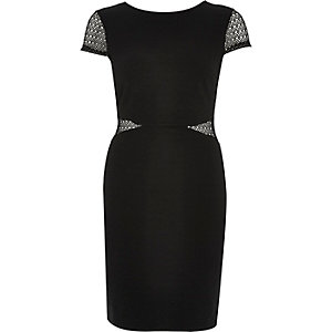 Black lace insert bodycon dress