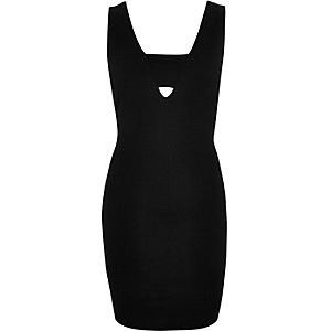 Black textured jersey bodycon dress