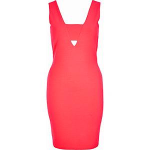 Coral tab side bodycon dress