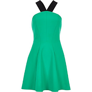 Green jersey halter neck skater dress