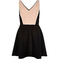 Black block panel skater dress