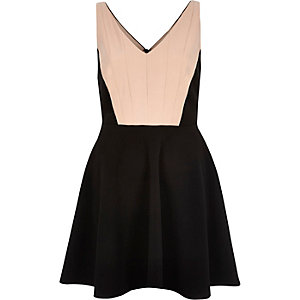 Black block panel skater dress