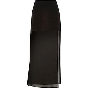 Black chiffon layer maxi skirt