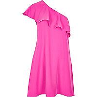 Pink ruffle one shoulder dress