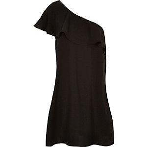 Black ruffle one shoulder dress