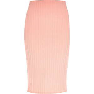 Light pink ribbed pencil skirt