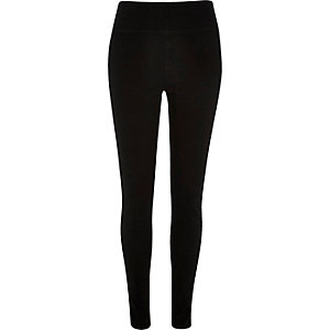 Black denim high waisted leggings