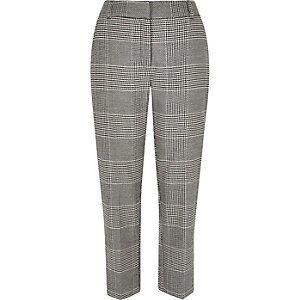Grey houndstooth straight pants