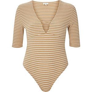 Cream stripe plunge neck bodysuit