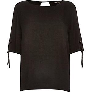 Black eyelet lace-up sleeve t-shirt