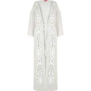 White embellished cold shoulder cover-up