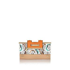 Orange floral print purse