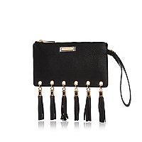 Black tassel edge purse bag