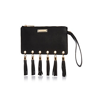 Black tassel edge purse bag