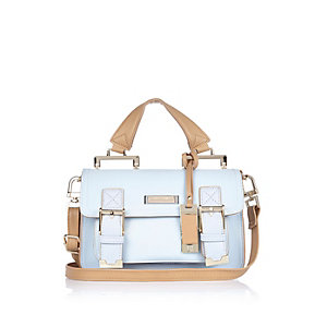 Light blue mini satchel handbag