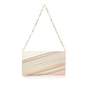 Cream panelled underarm handbag