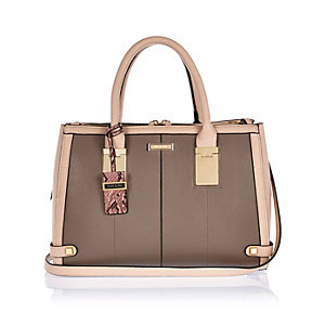 Brown large hinge tote handbag